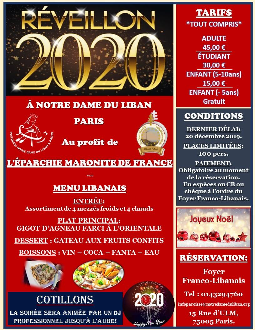 PAROISSE NOTRE DAME DU LIBAN : RÉVEILLON DU NOUVEL AN 2020